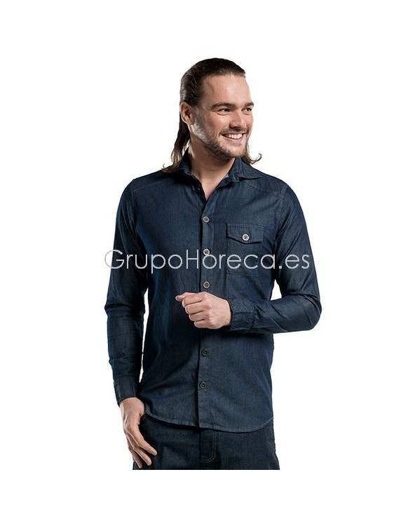 Camisa Denim Azul Manga Larga Chaud Devant