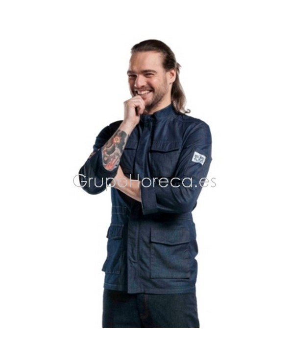 Chaquetilla Chef Parka Blue Denim Manga Larga Chaud Devant