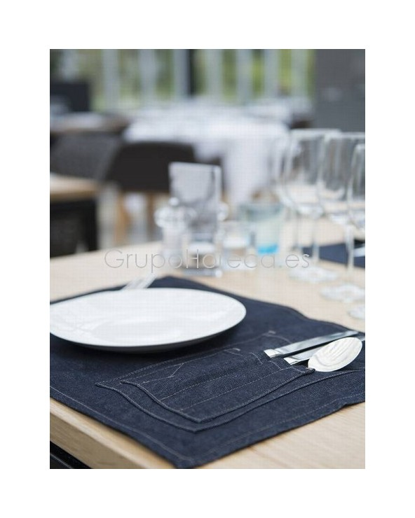 Mantel Individual Blue Denim Chaud Devant